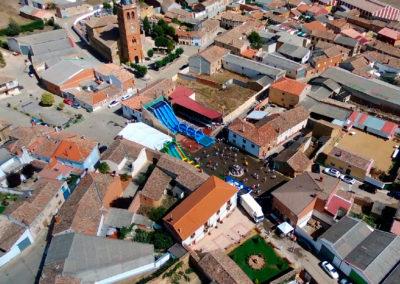 Vista de Villaherreros desde el aire durante la Fiesta del Agua de 2019. / Foto: Miguel Ángel Delgado