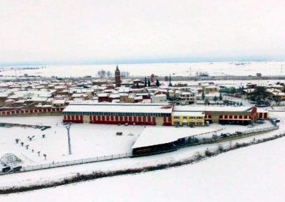 Vista de Villaherreros tras una mañana de nieve en febrero de 2018. / Foto: Daniel Díez